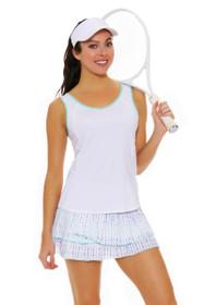 Lucky In Love Women's Desert Shore Ditsy Pleat Tier Lagoon Tennis Skirt