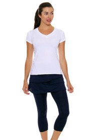 Lucky In Love Women's Core Bottoms Scallop Navy Tennis Skirt Capri