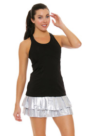 Lucky In Love Women's Core Bottoms Silver Slither Pleat Tier Tennis Skirt