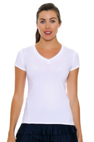 Lucky In Love Women's Core Tops Varsity V Cap Sleeve White Tennis Top