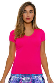 Lucky In Love Women's Core Tops Varsity V Cap Sleeve Shocking Pink Tennis Top