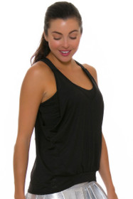Lucky In Love Women's Core Tops Deep V Bralette Black Tennis Tank