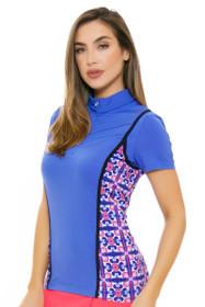 EP Pro NY Women's Beyond Blue Print Blocked Golf Short Sleeve Polo
