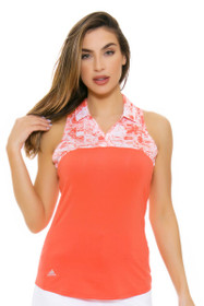 Adidas Women's Easy Coral Merch Print Golf Sleeveless Polo