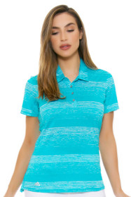 Adidas Women's Energy Blue 3-Stripe Novelty Golf Short Sleeve Polo Shirt