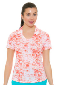 Adidas Women's White Easy Coral Merch Print Golf Short Sleeve Polo
