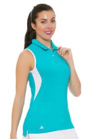 Adidas Women's Essentials Energy Blue 3-Stripe Golf Sleeveless Polo Shirt