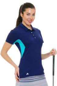 Adidas Women's Essentials Night Sky 3-Stripe Golf Short Sleeve Polo Shirt