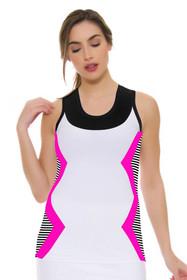 Side Stripe Pink Chevron Print Tennis Tank