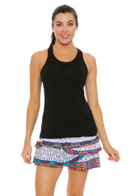 Lucky In Love Women's Print Medley Long Tut Rouched Scallop Tennis Skirt