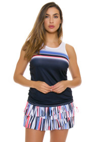 Lucky In Love Women's Vantage Block Party Pleat Scallop Tennis Skirt