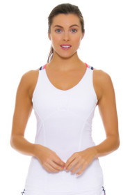 Lucky In Love Women's Vantage Double Cross White Tennis Cami