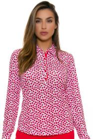 EP Pro NY Women's Poppy Fields Bud Print Golf Long Sleeve Polo
