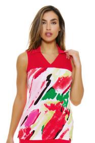 EP Pro NY Women's Poppy Fields Crossover V-Neck Golf Sleeveless Shirt