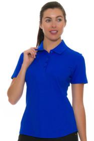 Greg Norman Women's Essentials Sapphire Protek Micro Pique Golf Short Sleeve Shirt