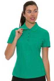 Greg Norman Women's Essentials Emerald Protek Micro Pique Golf Short Sleeve Shirt