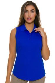 Greg Norman Women's Essentials Sapphire Protek Micro Pique Golf Sleeveless Shirt