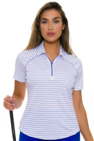 Greg Norman Women's Essential Zip Stripe Sapphire Golf Polo Shirt