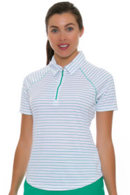 Greg Norman Women's Essential Zip Stripe Emerald Golf Polo Shirt