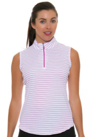 Greg Norman Women's Essential Zip Stripe Ruby Golf Sleeveless Shirt