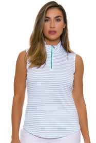 Greg Norman Women's Essential Zip Stripe Emerald Golf Sleeveless Shirt