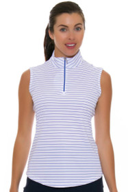 Greg Norman Women's Essential Zip Stripe Sapphire Golf Sleeveless Shirt