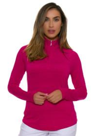 Greg Norman Women's Essentials Ruby 1/4-Zip Mock Golf Long Sleeve