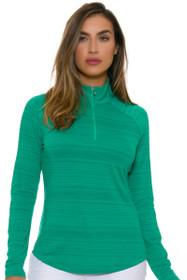 Greg Norman Women's Essentials Emerald 1/4-Zip Mock Golf Long Sleeve Top