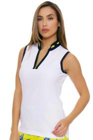 EP Pro NY Women's Palmetto Eyelet Trim Golf Sleeveless Shirt