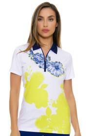 EP Pro NY Women's Palmetto Placed Print Golf Short Sleeve Polo