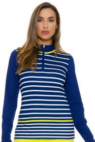 EP Pro NY Women's Palmetto Stripe Blocked Golf Long Sleeve Top
