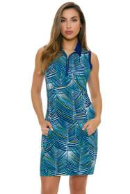 EP Pro NY Women's Palmetto Palm Frond Print Golf Dress