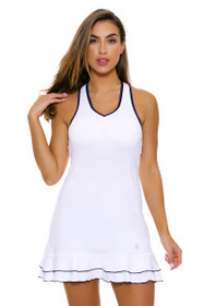 Sofibella Women's Nautical Navy V-Neck White Tennis Dress