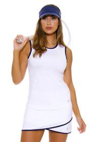 "Sofibella Women's Nautical Navy Scallop Front 15"" White Tennis Skirt"