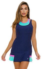 "Sofibella Women's Nautical Navy Back Flounce 14"" Tennis Skirt"
