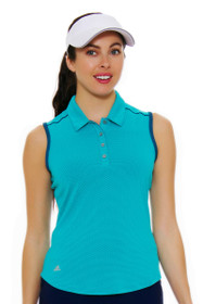 Adidas Women's Easy Blue Micro Dot Golf Sleeveless Polo