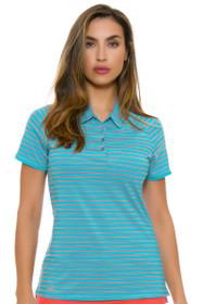 Adidas Women's Energy Blue Double Stripe Golf Short Sleeve Polo
