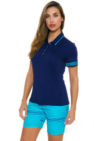 Adidas Women's Essentials Blue Glow Printed Stripe Golf Shorts