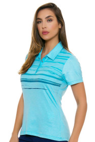 Adidas Women's Blue Glow Merch Stripe Golf Short Sleeve Polo