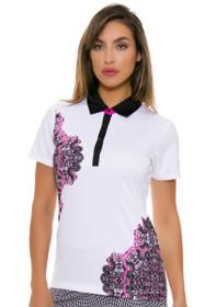 EP Pro NY Women's Marbella Placed Print Golf Short Sleeve Polo