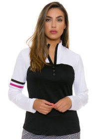 EP Pro NY Women's Marbella Mesh Inset Trim Golf Long Sleeve Top