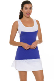 Redvanly Women's Decatur White and Periwinkle Tennis Skirt
