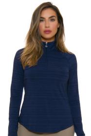 Greg Norman Women's Essentials Navy  1/4 Zip Mock Long Sleeve