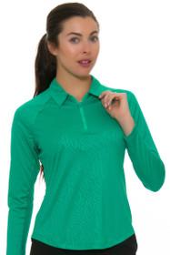 Greg Norman Women's Essentials Solar XP Embossed Zebra Emerald Pullover