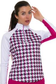 Greg Norman Women's Essentials Solar XP Houndstooth Print Long Sleeve