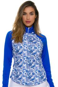 Greg Norman Women's Essentials Solar XP Paisley Print Sapphire Long Sleeve