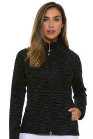 Greg Norman Women's Essentials Diamond Melange Blocked Black Jacket