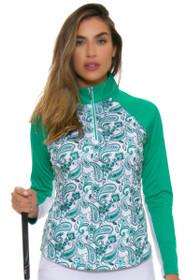 Greg Norman Women's Essentials Solar XP Paisley Print Emerald Long Sleeve