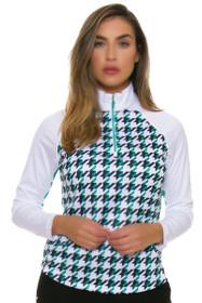 Greg Norman Women's Essentials Solar XP Houndstooth Print Emerald Long Sleeve