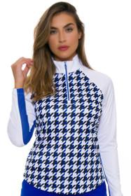 Greg Norman Women's Essentials Solar XP Houndstooth Print Sapphire Long Sleeve